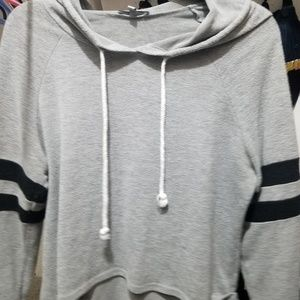 Charlotte Russe Light Gray Cropped Hoodie